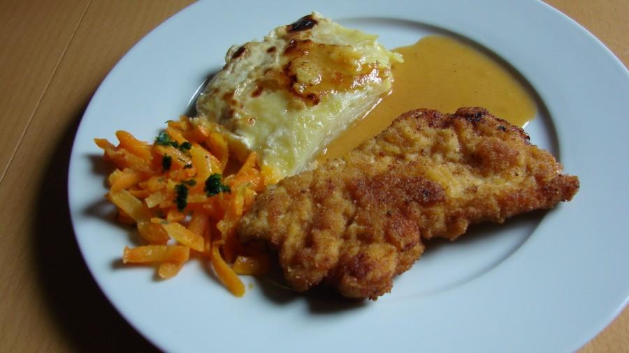 Putenschnitzel mit Kartoffelgratin - Leckeres Sonntagsgericht